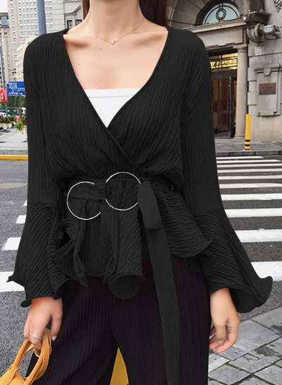 Black Chiffon Flare Neck Solid Color Loose Blouse With Belt