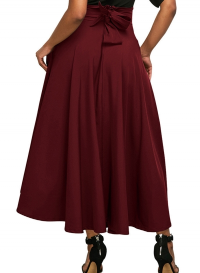 Red Solid High Waist Pockets Bow Tie Pleated Swing Long Skirts