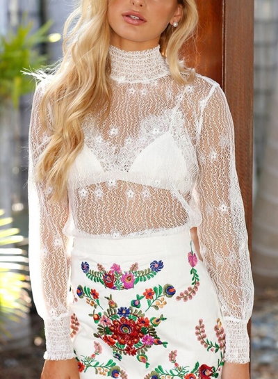 White Casual High Neck Hollow Lace Out Blouse