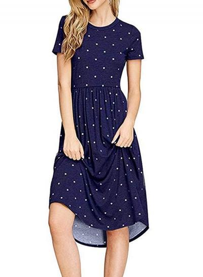 Navy Short Sleeve Polka Dot Elastic Knit Dress