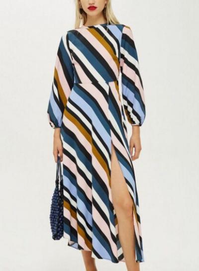 Striped Backless Round Neck Long Sleeve High Waist High Slit Dress
