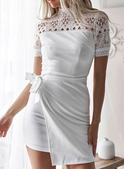 White Mock Neck Lace Hollow Out Slim Dress