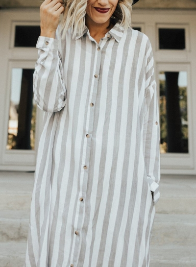 Striped Turn-Down Collar Long Sleeve Loose Button Down Dress