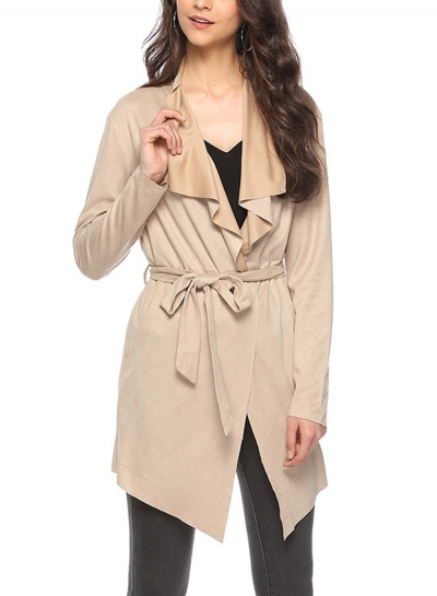 Khaki Open Front Turn -Down Collar Long Sleeve Waist Tie Loose Coat