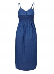 4cf46d60883 ... Blue Spaghetti Strap High Waist Button Down Denim Midi Dress With  Pockets ...