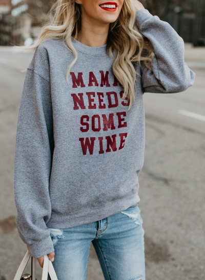 Grey Letters Print Round Neck Long Sleeve Loose Pullover Sweatshirt STYLESIMO.com