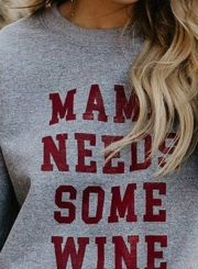 Grey Letters Print Round Neck Long Sleeve Loose Pullover Sweatshirt