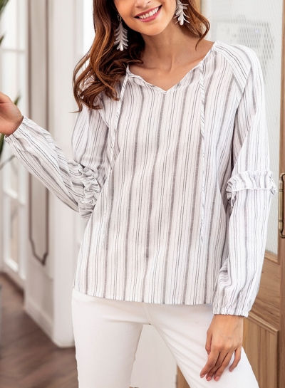 Grey Casual Striped V Neck Long Sleeve Loose Ruffle Blouse With Drawstring