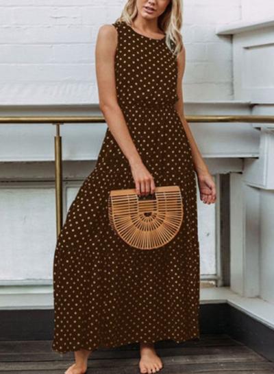 Coffee Sleeveless Round Neck Elastic Waist Polka Dot Maxi Dress