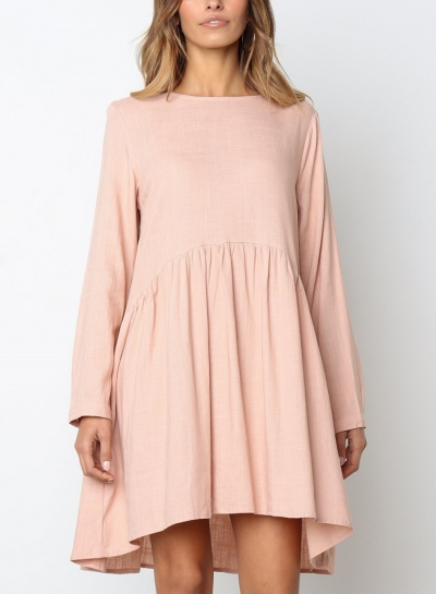 Pink Round Neck Long Sleeve High Low Loose Pleated Mini Dress With Pockets