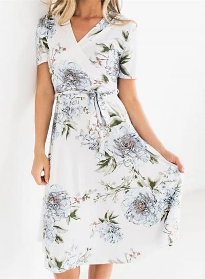 Short Sleeve Wrap Waist Tie Slim Floral Dress