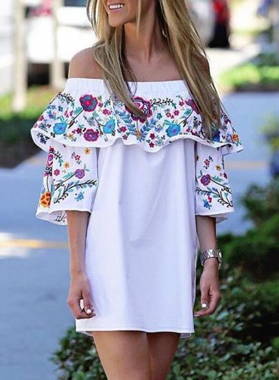White Floral Print Off Shoulder Loose Dress