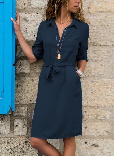 Navy Half Sleeve Waist Tie Midi Dress