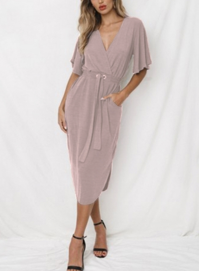 Summer V Neck Short Sleeve Waist Tie Slim Dress With Pockets