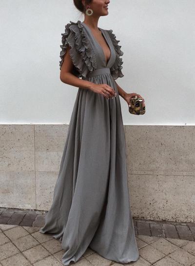 Grey V Neck Flying Sleeve Maxi party Dress