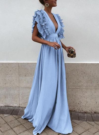 Blue V Neck Flying Sleeve Maxi party Dress