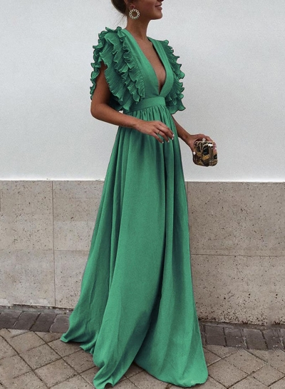 Green V Neck Flying Sleeve Maxi party Dress