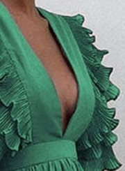 Green V Neck Flying Sleeve Maxi party Dress