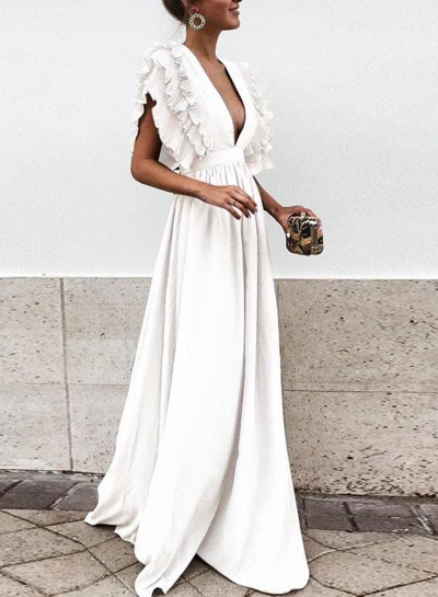 White V Neck Flying Sleeve Maxi Evening Dress