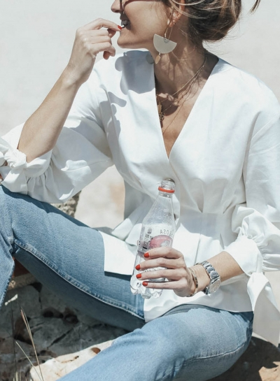 White V Neck Long Sleeve Slim Cotton Office Blouse With Button