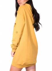 Yellow Women's Casual Ripped Long Sleeve Loose Solid Color Long Hoodie