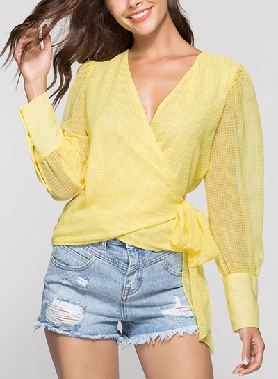 Yellow Casual V Neck Long Sleeve Wrap Waist Tie Loose Plaid Blouse