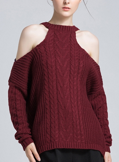 Burgundy Women's Off Shoulder Round Neck Long Sleeve Loose Solid Color Sweater