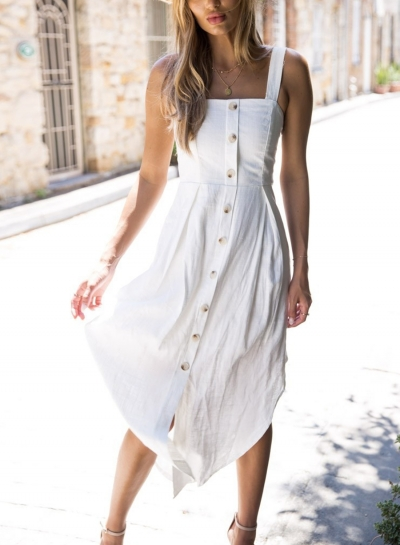White Summer Strappy Backless Button Down Irregular Solid Color Maxi Dress