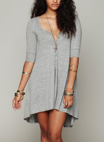 Grey Concise Solid Irregular Half Sleeve Round Neck Women Dress With Buttons