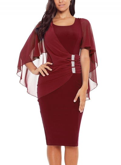 Burgundy Waist Pleated Rhinestone Detail Bodycon Midi Dress