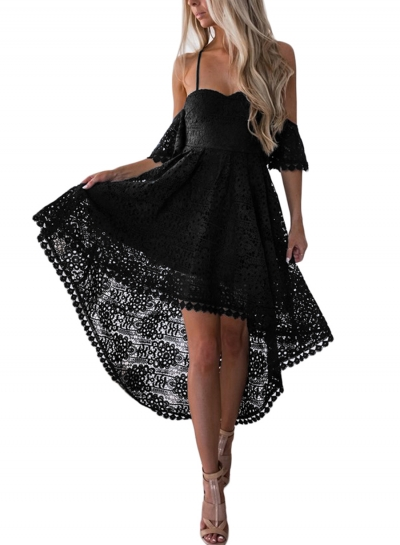 Black Backless Spaghetti Strap High Low Party Dress
