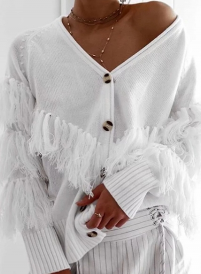 White Casual Tassel Loose Cardigan