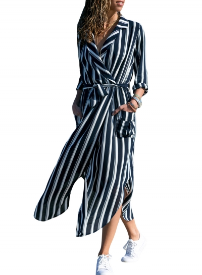 Autumn Striped Coat style Slit Dress With Blet