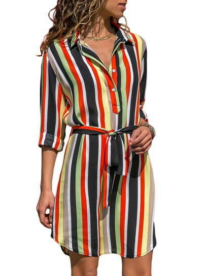 Striped Turn-Down Collar Long Sleeve Button Down Dress With Belt