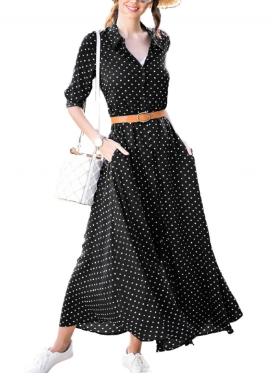 Casual Half Sleeve Button Down Polka Dot Pockets Maxi Dress With Belt