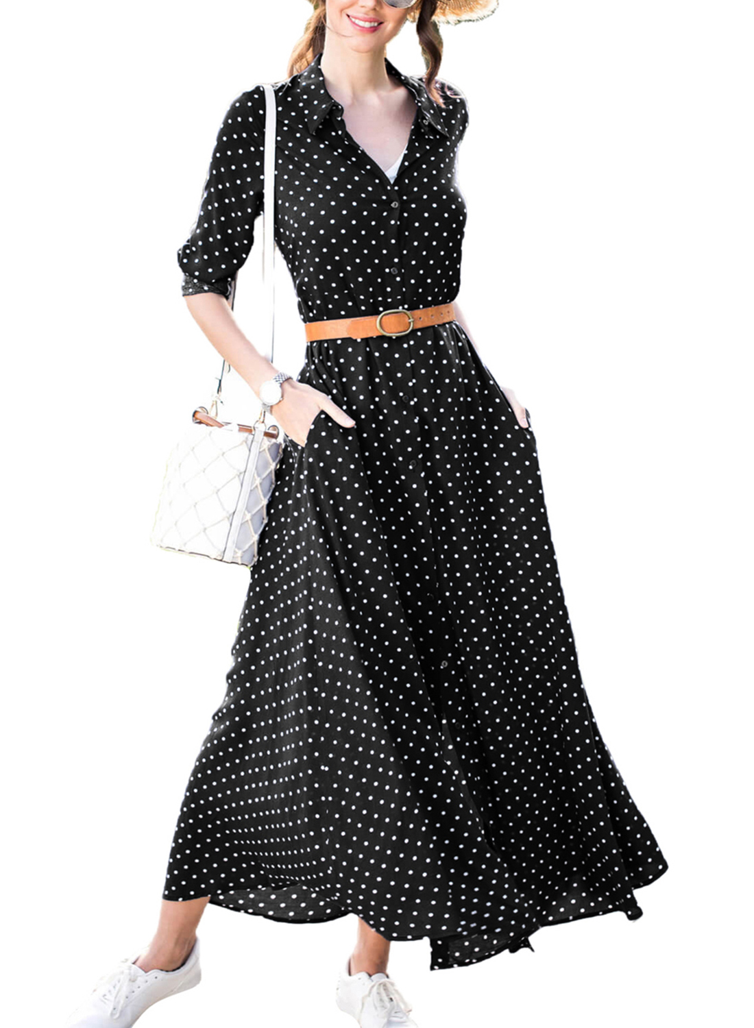 c18439a6060 Loading zoom. Casual Half Sleeve Button Down Polka Dot Pockets Maxi Dress  With Belt  Casual Half ...