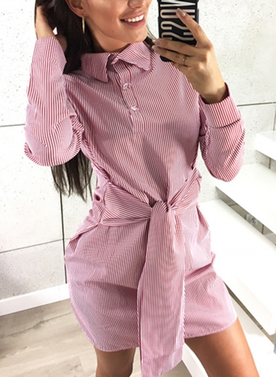 Striped Turn-Down Collar Long Sleeve Waist Tie Button Dress