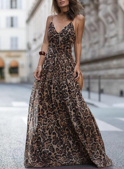Leopard Print Spaghetti Strap Maxi Party Dress
