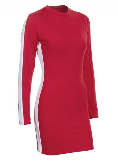 8f69b749866 Red Sexy Color Block Round Neck Long Sleeve Slim Bodycon Dress - STYLESIMO. com