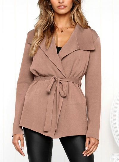 Turn-Down Collar Long Sleeve Solid Color Cardigan Waist Tie Coat