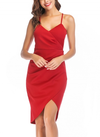 Red Summer Sexy Spaghetti Strap V Neck Irregular Midi Dress