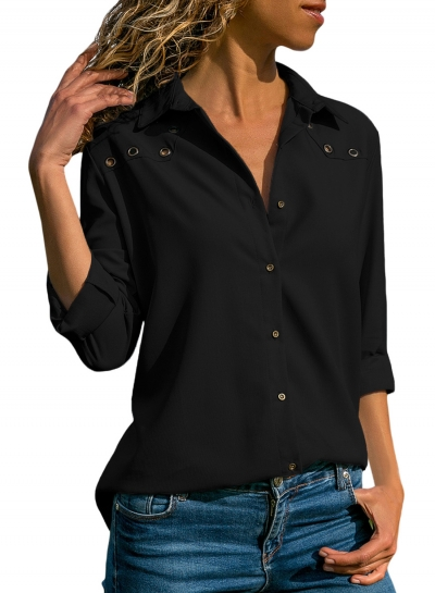 Black Casual Turn-Down Collar Long Sleeve Loose Button Down Shirt