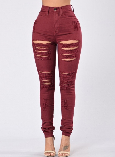 Casual Destroyed Ripped Distressed High Waist Slim Fit Skinny Jeans