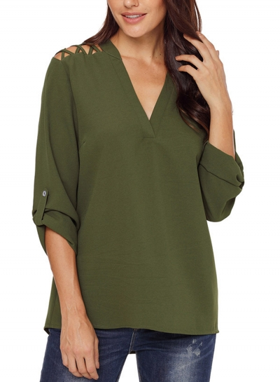 Army Green Women's V Neck Rolled-Up Long Sleeve Solid Color Hollow Out Blouse