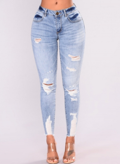 Casual Stretch Faded Ripped Skinny Pencil Denim Jeans