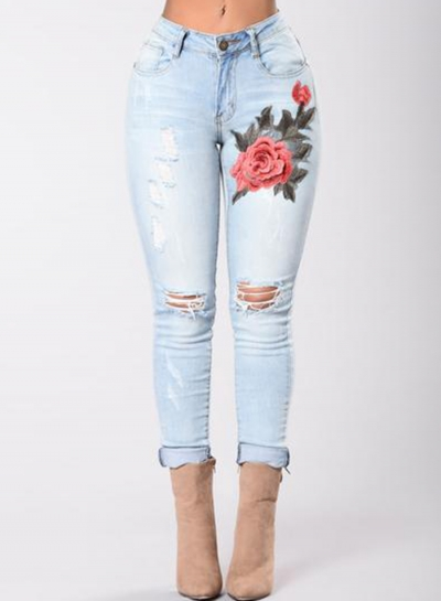Casual Faded Ripped Embroidered High Waist Skinny Jeans With Pockets