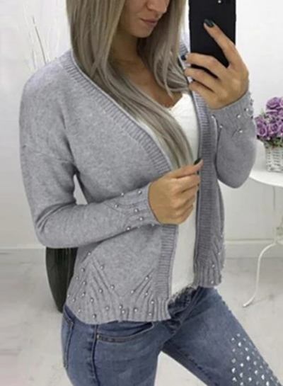 Casual Long Sleeve Open Front Solid Color Short Cardigan