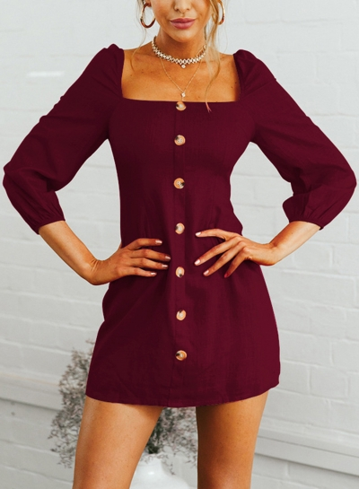 Burgundy Casual Square Neck 3/4 Sleeve Solid Color Button Down Mini Dress