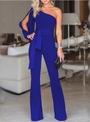 Fashion Sexy Asymmetric One Shoulder Wide Leg Lace-Up Solid Jumpsuit
