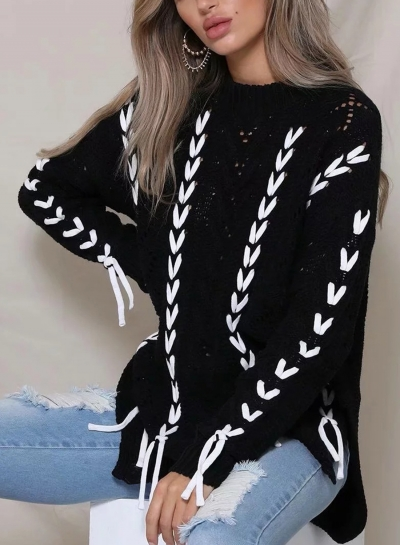Black Round Neck Long Sleeve Lace-Up Hollow Out Slit Loose Sweater